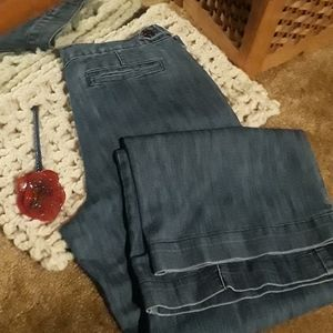 Daisy Fuentes Pleated Jean Trousers size 10 Wide
